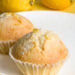 Lemon muffins on yellow